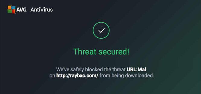 Antivirus threat detection in Raybxc URL