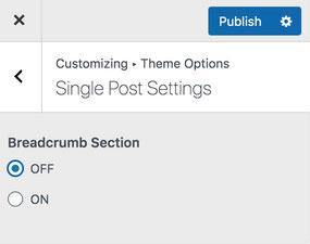 Click/Check OFF Breadcrumb Section on Single Post Settings Menu