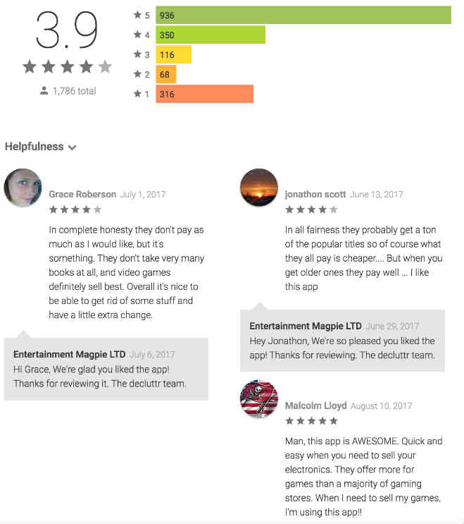 Decluttr customer reviews from Google Play Store.