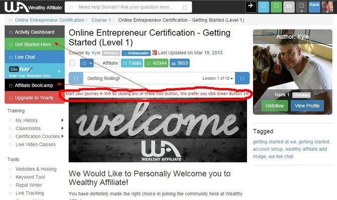 Home Page of Wealthy Affiiliate after you sign in. Click here to see the detail review on Wealthy Affiliate