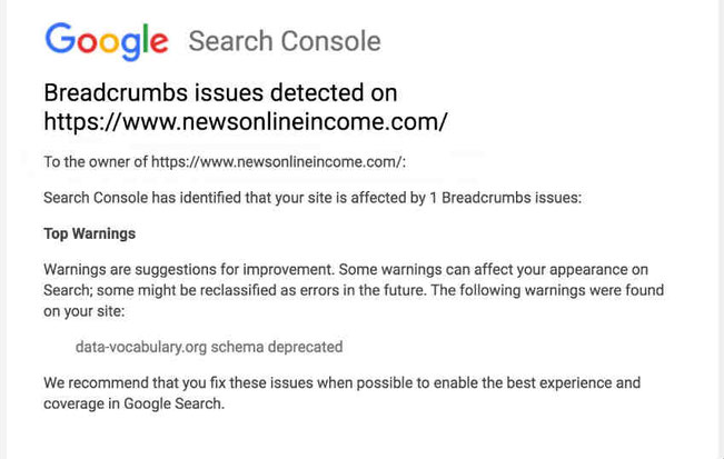 "How to fix Breadcrumbs issues detected on your WordPress website: ""data-vocabulary.org schema deprecated"" error?"