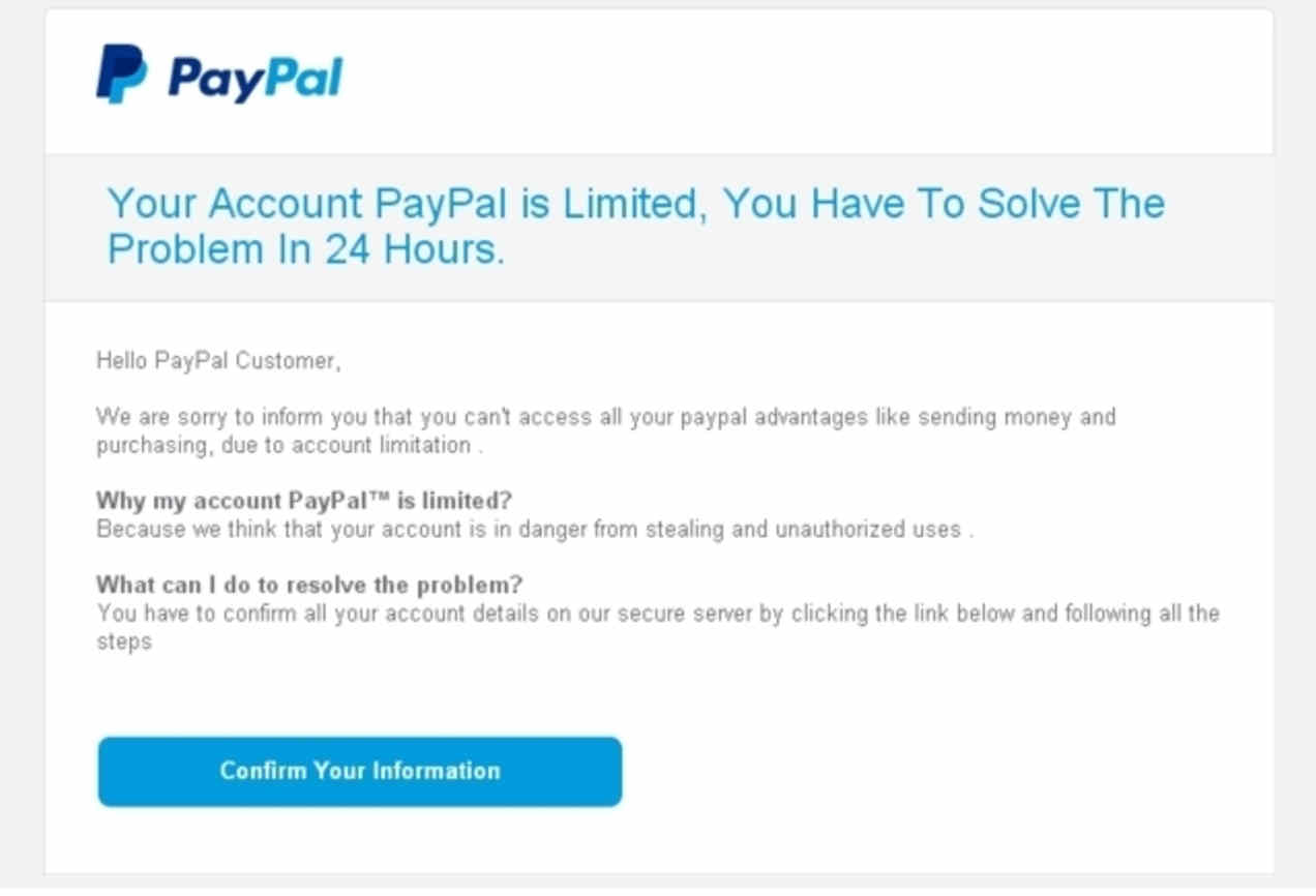 Paypal fraud scam phishing email