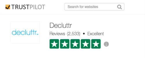 TrustPilot rating for Decluttr.