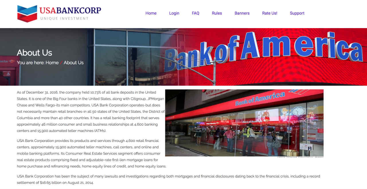 """Screenshot taken from USA Bank Corporation's website showing its claim in its """"About us"""" page claiming it is a real bank"""