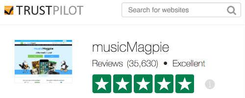 Trust Pilot rating of musicMagpie