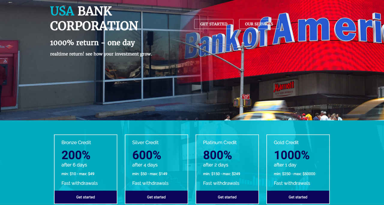 Screenshot taken from USA Bank Corporation's website showing its ROI Ponzi plans