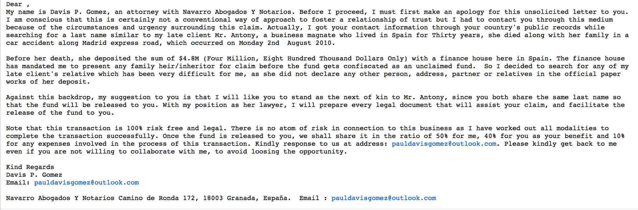 Navarro Abogados Y Notarios fraud scam phishing email