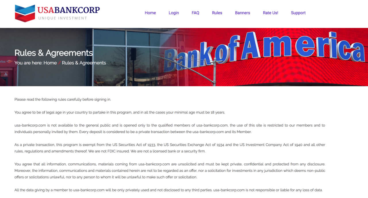 "Screenshot taken from USA Bank Corporation's website showing its claim in its ""Rule"" page claiming it is not a bank"