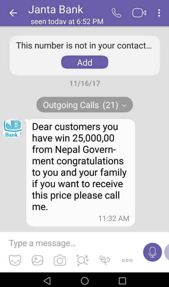 Phishing message in Viber from the scammer pretending to be a staff of Janta Bank.