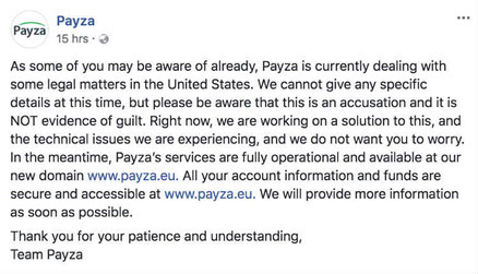 Screenshot of Announcement by Payza on its official Facebook page.