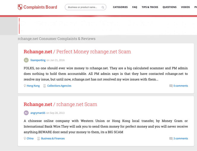 Screenshot of complaints posted by people within complaints board against Rchange.