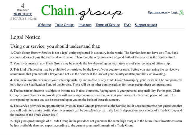 Screenshot of Legal Notice taken from the official website of Chain Group.