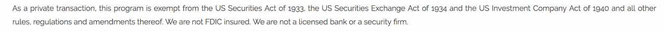 Screenshot taken from USA-BankCorp website's Rules page where it claims it is not a real bank.