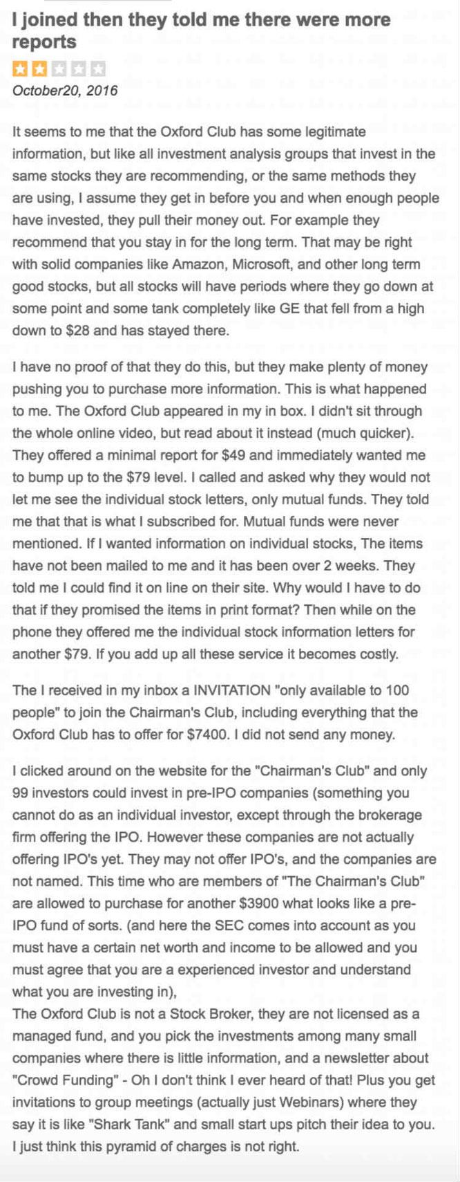 The Oxford Club Complaints