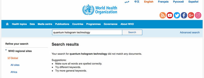 The screenshot showing the research on quantum hologram technology in WHO website.