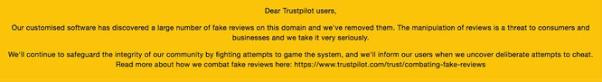 Trustpilot report about fake Romwe reviews.